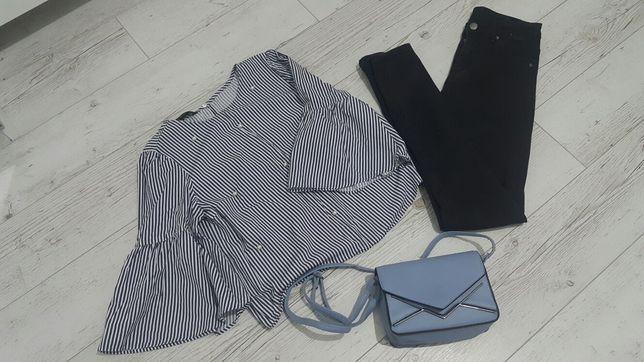 Mega paka zestaw ubrań koszula w kratę jeans perełki torebka jeans