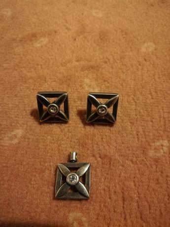 Komplet biżuteria artystyczna ze srebra próby 925 vindage