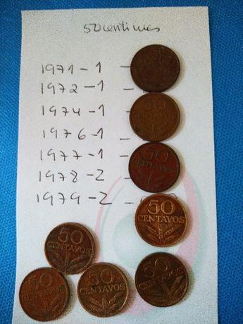 9 Moedas antigas de $50 centavos