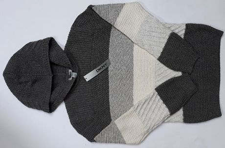 DKNY Donna Karan Cieply Merino Wool Welniany Sweter z Kapturem Szary