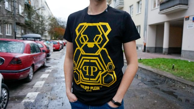 Koszulka Philip Plein z misiem czarna. Wysyłka Paczkomatem Gratis