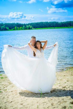 Suknia ślubna cekiny tren