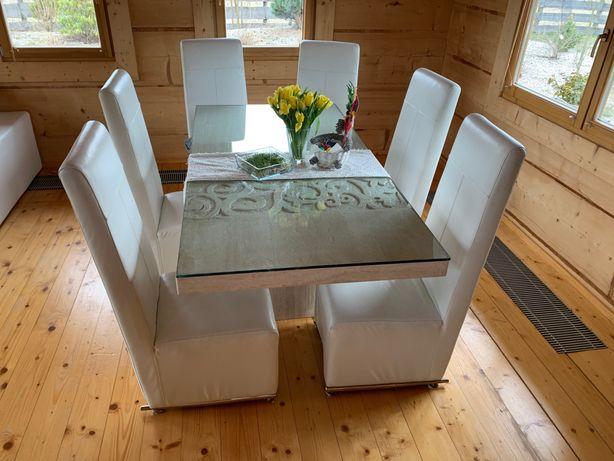 stół marmurowy do jadalni + 6 Krzesla z Skora