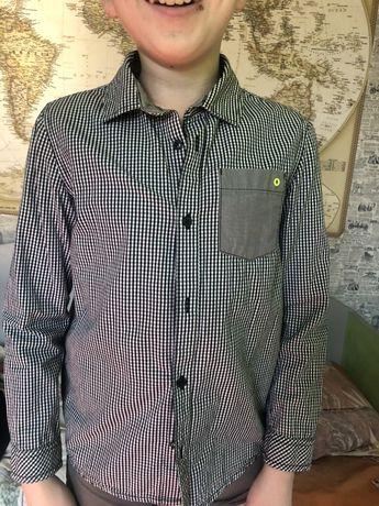 Рубашка в клетку на ребенка 11-12 лет, унисекс