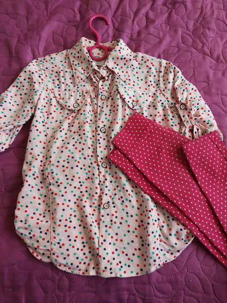 Комплект летней одежды, лосины,блуза на 5-6 лет