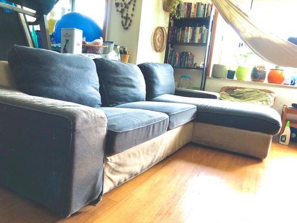 Sofá usado, com 10 anos. Com chaise longue