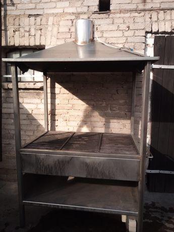 Duży solidny grill ze stali nierdzewnej