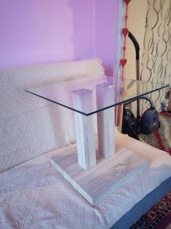 Szklany stolik kawowy (szkło-drewno) nowy