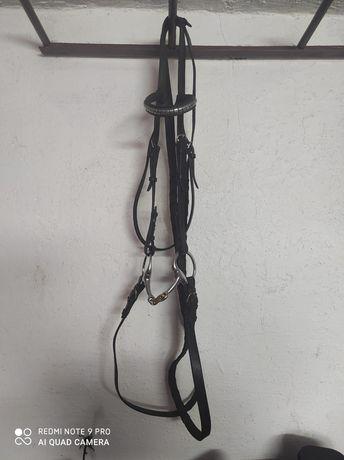 Brązowe ogłowie FULL z wodzami skórzane wędzidło zdobiony naczółek