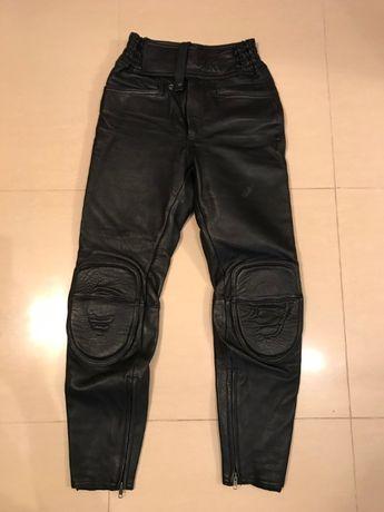 Spodnie motocyklowe damskie, skórzane, rozm. 28