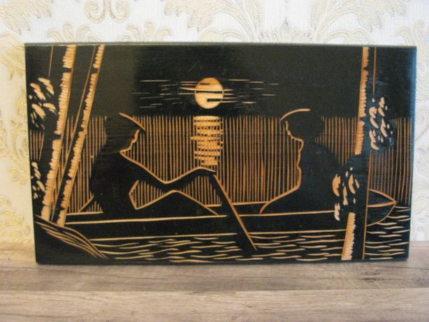 Панно резное деревяное времен СССР, Двое в лодке