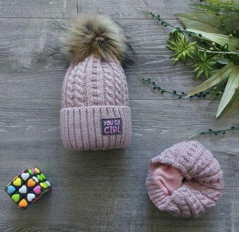 Набір для дівчинки шапка+ хомут