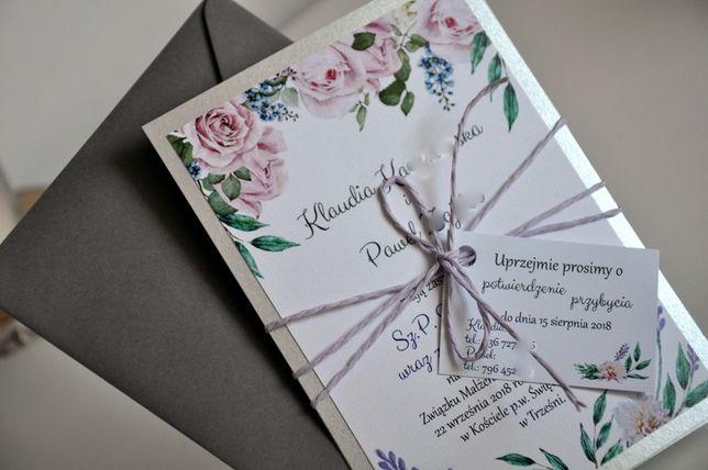 Zaproszenie Ślub Eko kwiaty+srebrne karty+zawieszka+złote napisy