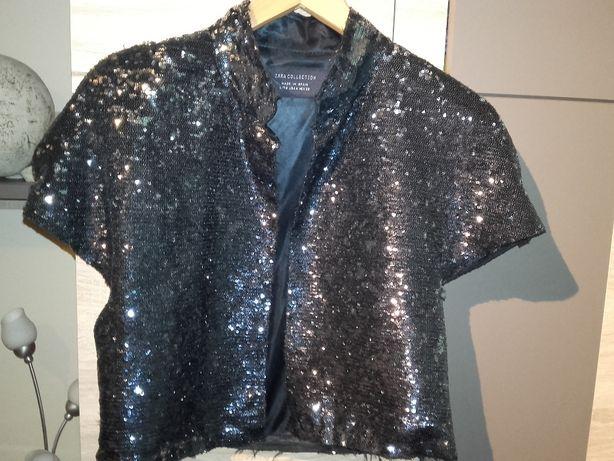 Bolerko srebrne czarne cekiny Zara