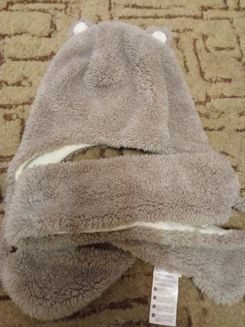 Шапка мишка плюшевая с шарфом