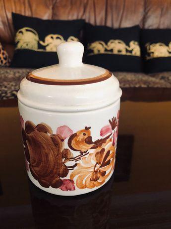 Cukiernica PRL ceramiczna ręcznie malowana z motywem ptaszka