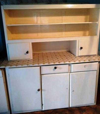 Piękny powojenny drewniany kredens kuchnia salon ręcznie robiony