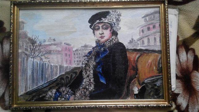 "Репродукция с картины И. Н. Крамского ""Неизвестная"""