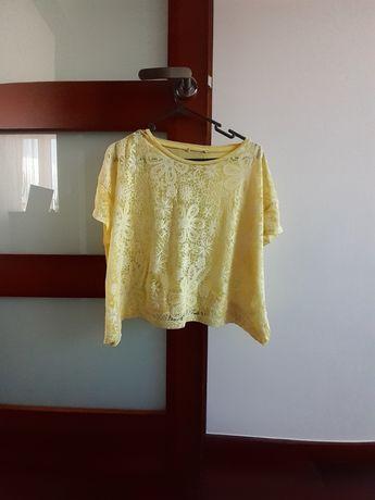 Żółta koszulka w kwiatki modna blogerska insta swag hippie hipster