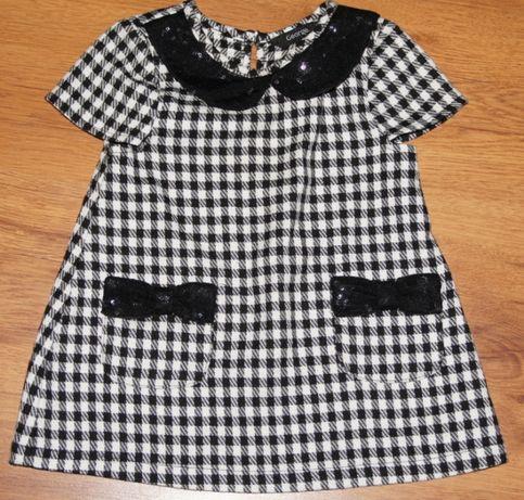 George tunika sukienka w kratkę czarna - biała 80/86 kołnierzyk j nowa