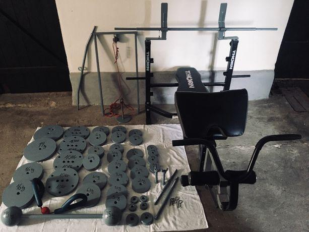 Zestaw siłownia ławeczka Thorn sztanga obciążenie 200kg ławka wyciąg