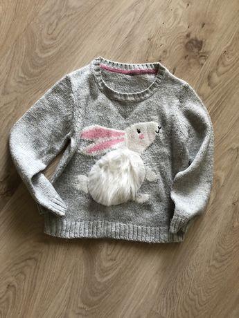 Sweter 116 szary królik