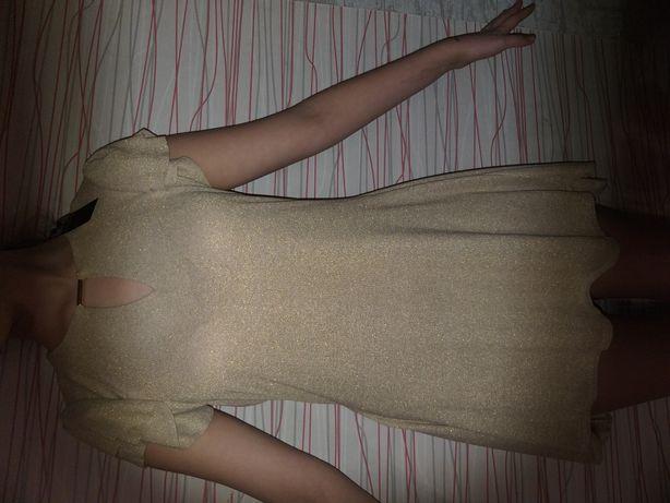 Платье классное золотое S M