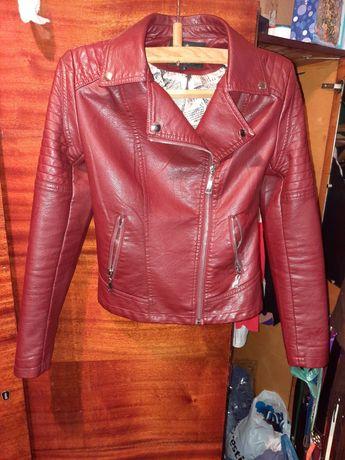 Кожанка кожаная куртка косуха красная бордо марсала