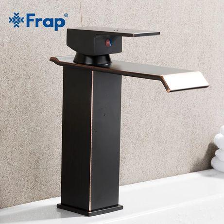 Смеситель Frap черный квадратный водопад для раковины латунный