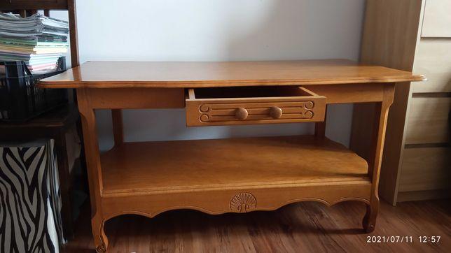 Stół, ława drewniana z szufladą