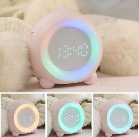 Светодиодный Детский смарт будильник, ночник с часами и подсветкой