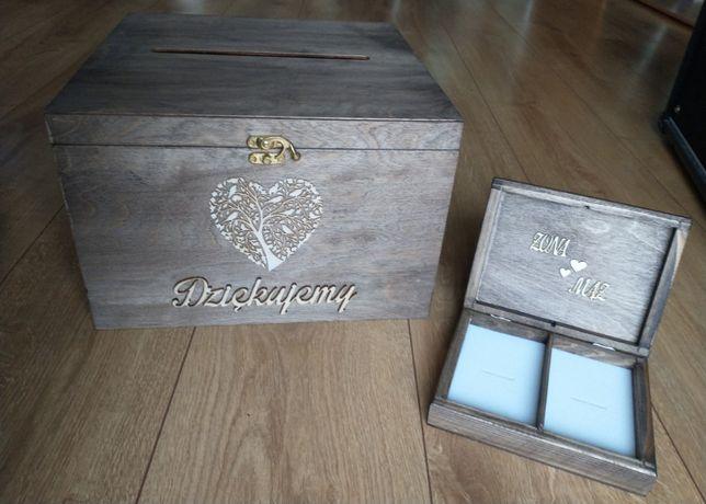 Drewniane rustykalne pudełko na koperty + pudełko na obrączki
