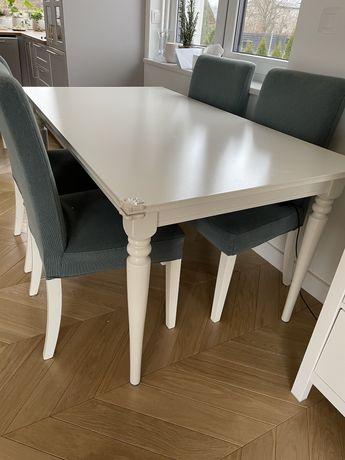 Ikea stól bialy rozkladany Ingatorp prostokatny krzesła henriksdal