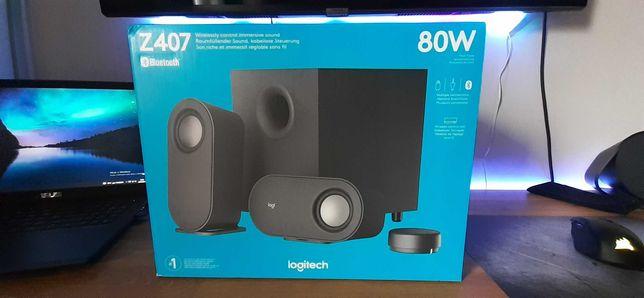 Colunas Logitech Z407 Stereo 2.1 Bluetooth 80W Peak / 40W RMS Pretas
