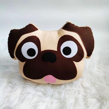 Poduszka Dekoracyjna Mops Buldog Pies Leniwiec Hand Made Rękodzieło
