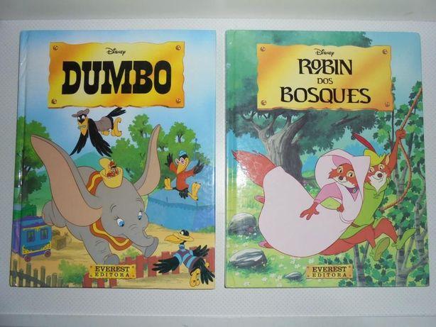 Livros antigos Disney capa dura Dumbo Robin dos Bosques