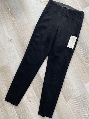 ZARA spodnie rurki z imitacji zamszu