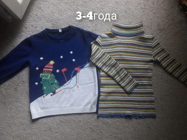 Теплый свитер 3-4года теплый гольфик на мальчика m&s next hm george