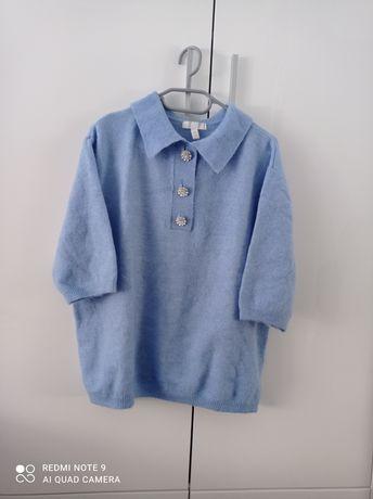 Sweterek niebieski H&M M oversize kołnierzyk guziki ozdobne