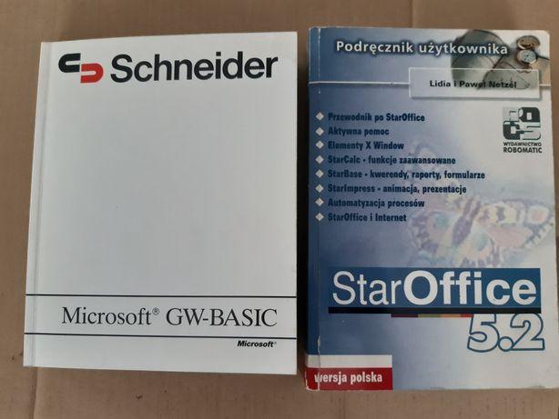 Książki GW-Basic user guide 1985 i StarOffice 5.2 2001