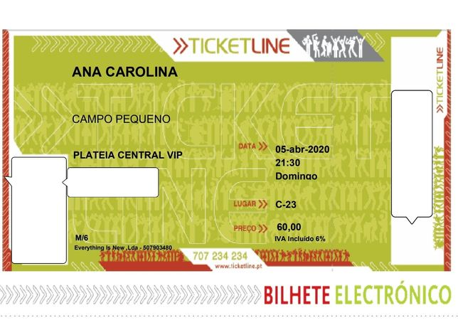 Bilhetes Concerto Ana Carolina - Campo Pequeno