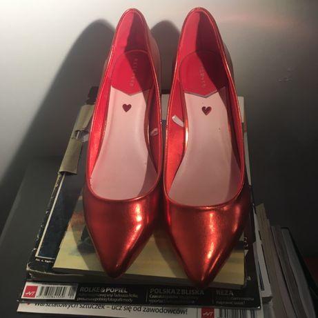 RESERVED - buty na obcasach - metaliczny czerwony 39