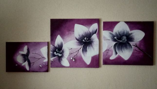 Продам 3-х модульную картину орхидеи.