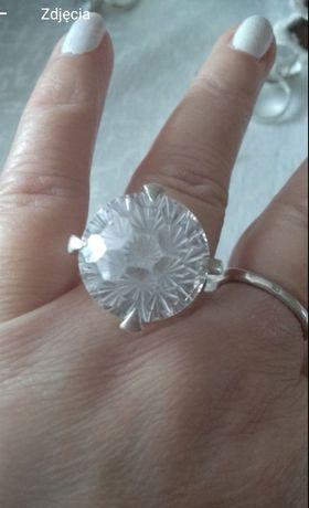 Srebrny pierścionek proba-925 dużą wielką cyrkonia -20mm/2 cm rozm.16