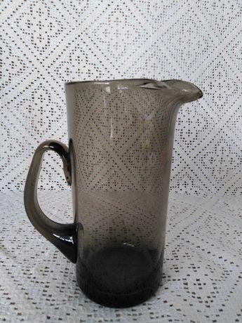 Vintage Whitefriars zielono brązowy dzbanek cinnamon szklany 16 cm
