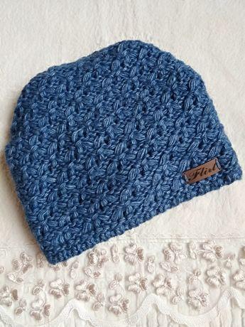 Теплая женская шапка на флисе. Синяя.