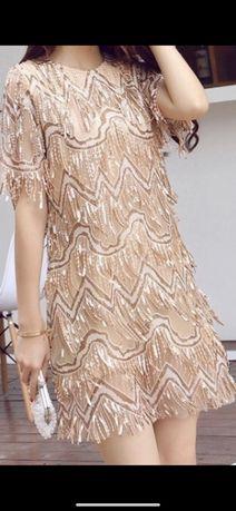 Sukienka mini cekiny S XS NOWA