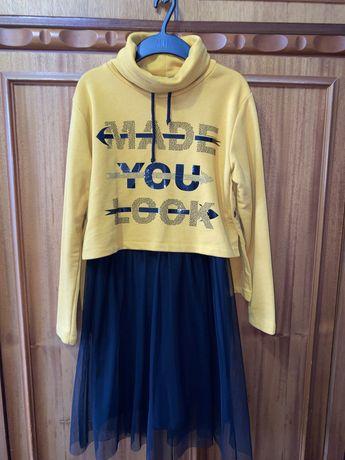 Платье+толстовка 10-11 лет
