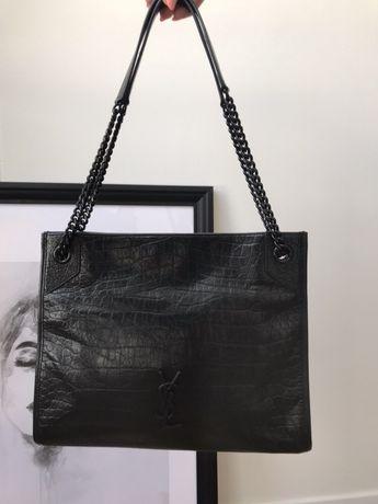 Saint Laurent sopper skóra naturalna duża czarna torebka premium