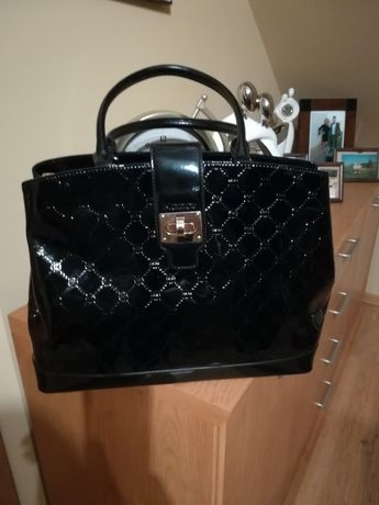 Skórzana torba, torebka kazar, czarna.